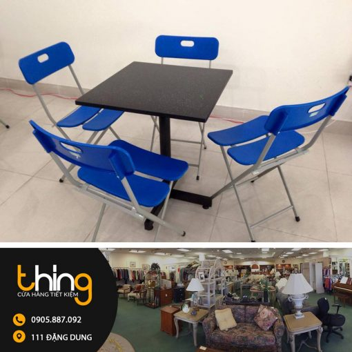 bàn ghế cafe màu xanh