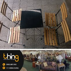 Bàn ghế cafe gỗ xếp thanh lý