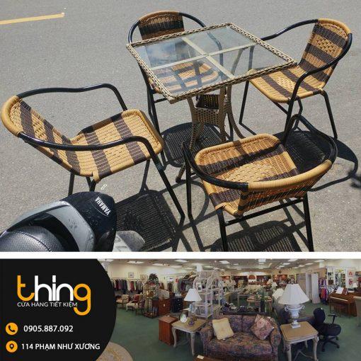 bàn ghế cafe mây