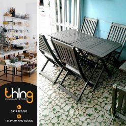 Bàn ghế Cafe gỗ (đen)